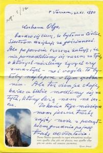 List ks. Tadeusza Fedorowicza do siostry Olgi Fedorowicz, 21.11.1990