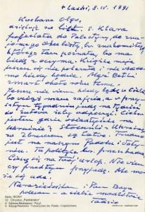 List ks. Tadeusza Fedorowicza do siostry Olgi Fedorowicz, 8.04.1991