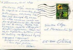 List ks. Tadeusza Fedorowicza do siostry Olgi Fedorowicz, 10.04.1991