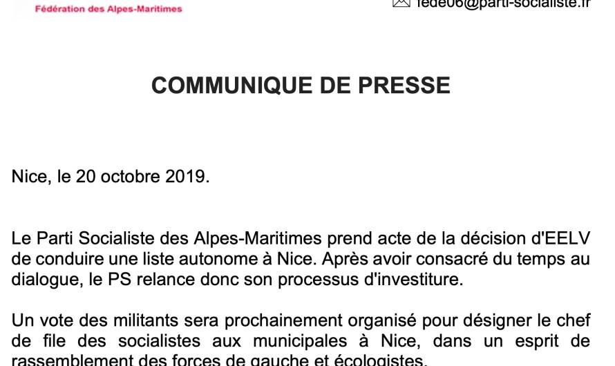 [COMMUNIQUE DE PRESSE] Investiture socialiste à Nice