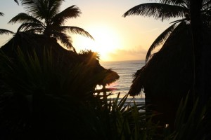 View from the sundown in my Yucatecan cabaña, Tulum, Yucatan, Mexico (October 2011)