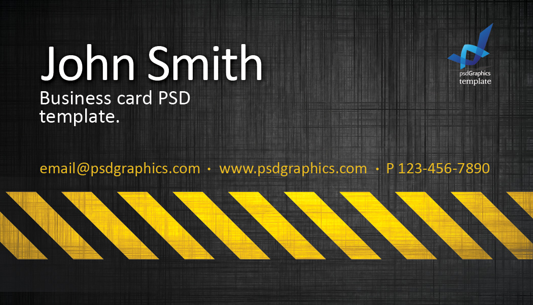Business card template  construction hazard stripes theme   PSDGraphics     Hazard card template
