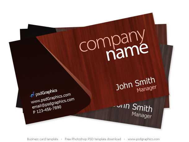 Dark wood theme business card. Photoshop PSD template in a high ...