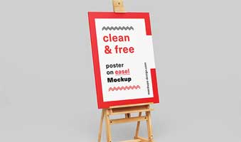 Free Poster Plus Easel Scene Mockup in PSD psdly