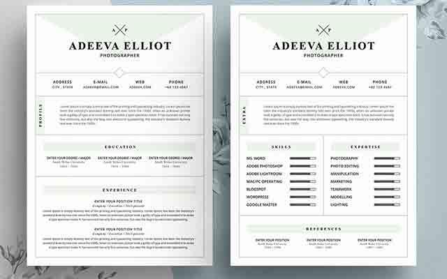 Modern Resume Template Elliot Premium File Free Download