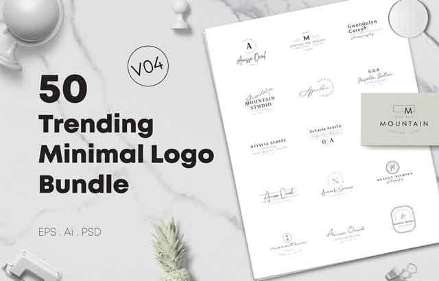 50 Trending Minimal Logo Bundle V04 ByXpertgraphicD Free Download
