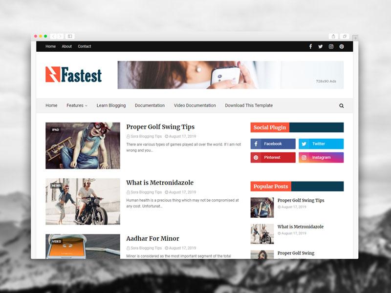 Fastest Blogger Template Premium Free Download
