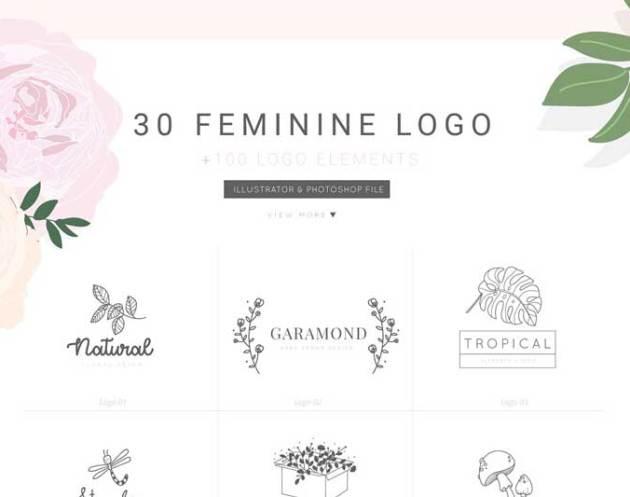 30 Feminine Logo Bundle V.1 PSD download