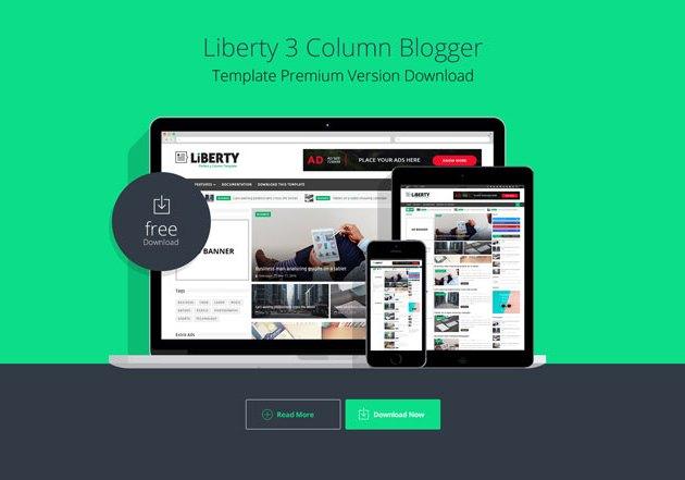 Liberty 3 Column Blogger Template Premium Version Download
