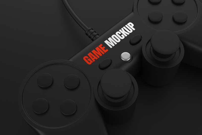 Black Game Controller Mockup