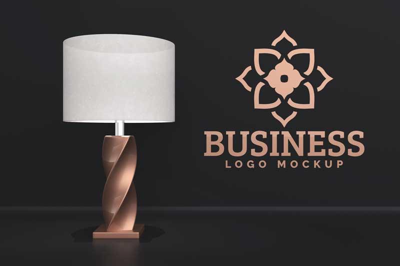 Lamp and Wall Logo Mockup