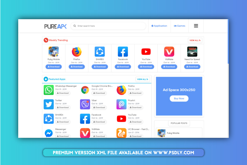 Download Free Pure APK Blogger Template Premium Version