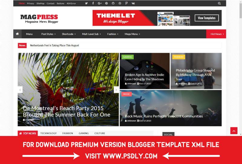 Magpress Magazine Responsive Blogger Template Premium FREE