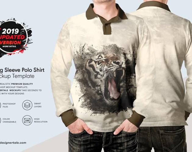 Long Sleeve Men Polo Shirt Mockup