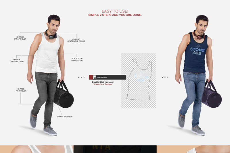 Mens Tank Top Mockup Set 1