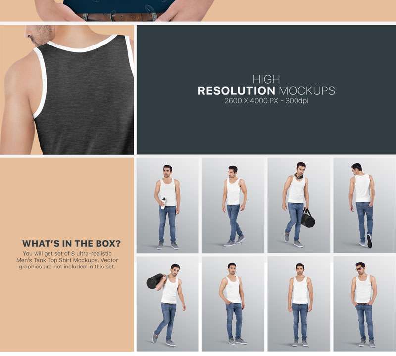 Mens Tank Top Mockup Set 6