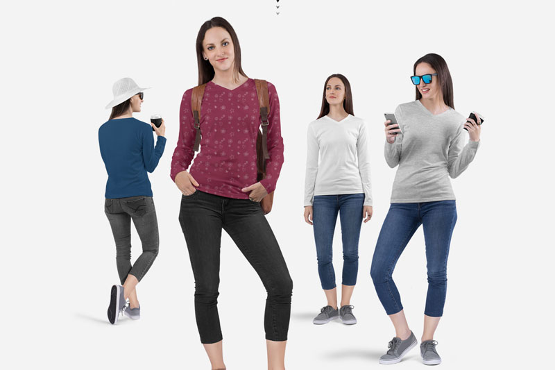 Women2527s V Neck Long Sleeve Shirt Mockup Set 4