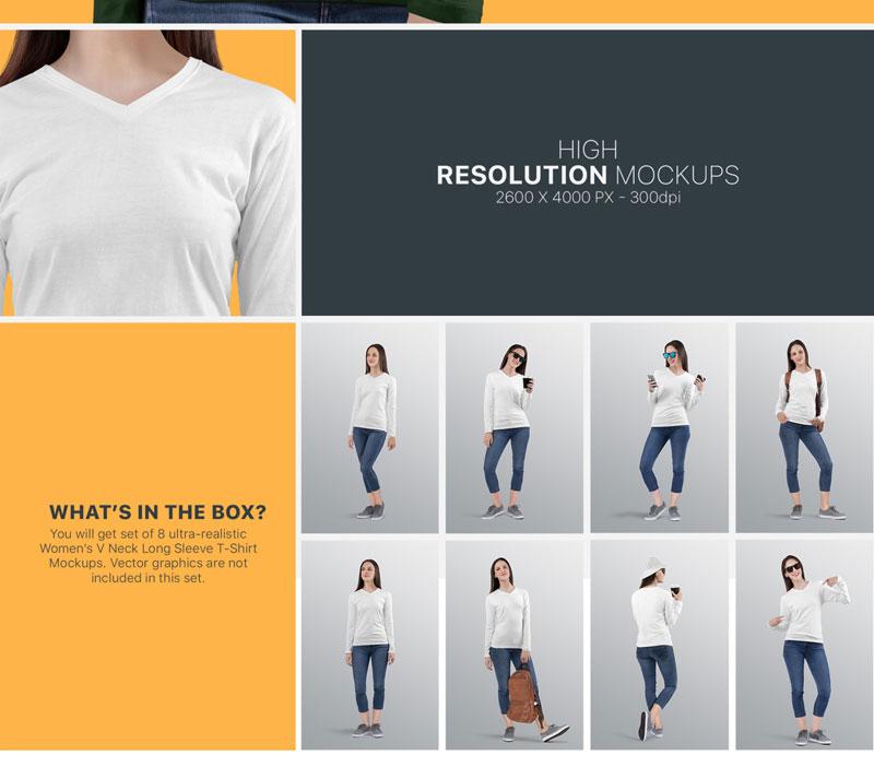 Women2527s V Neck Long Sleeve Shirt Mockup Set 6