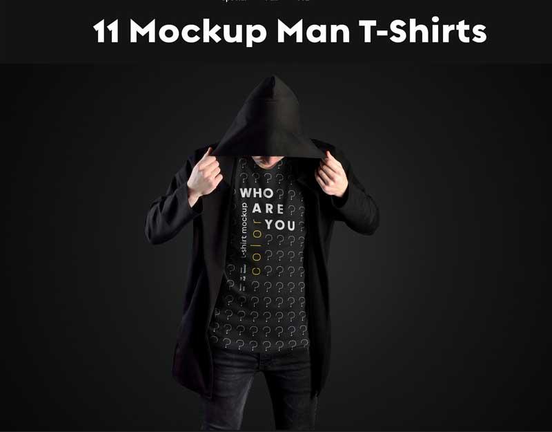 11 Mockups Man T Shirts in a Black Hood Mantle 1