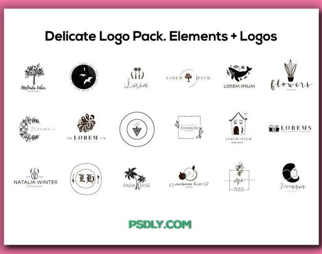 Delicate Logo Pack. Elements 252B Logos