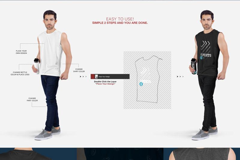 Men2527s Sleeveless Shirt Mockup Set 1