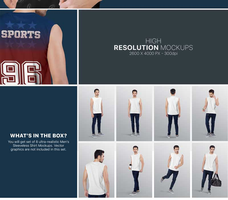 Men2527s Sleeveless Shirt Mockup Set 6