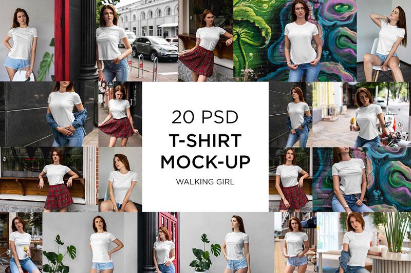 T Shirt Mock Up Walking Girl 7