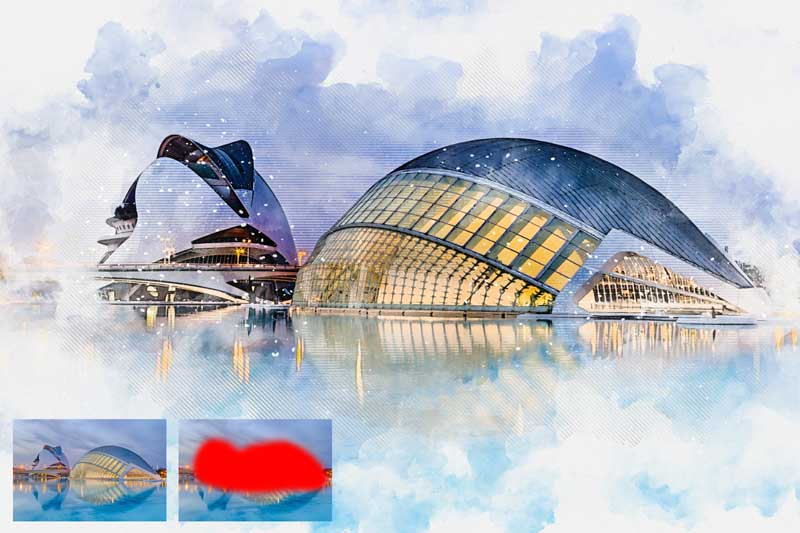 Architecture Watercolor Photoshop Action 25914179