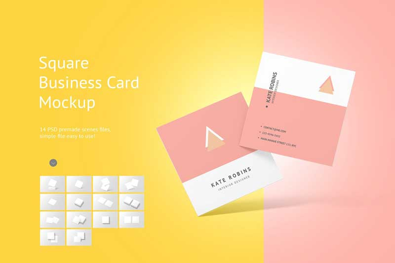 Creativemarket Square Business Card Mockup 4566160 Free Download