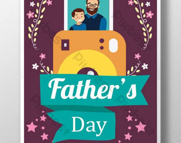 Father2527s Day Celebration Flyer With Flowers in Simple Style Template PSD