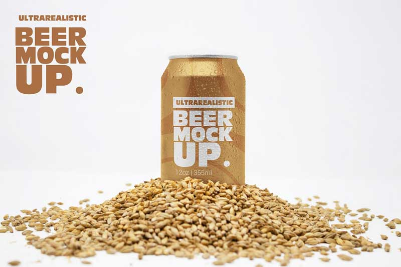 Front Malt Beer Can Mockup 4733895