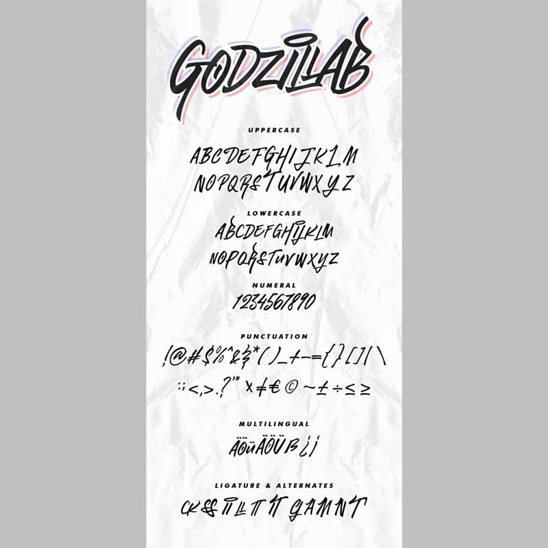 Godzillab Handmade Graffity Font Download Now