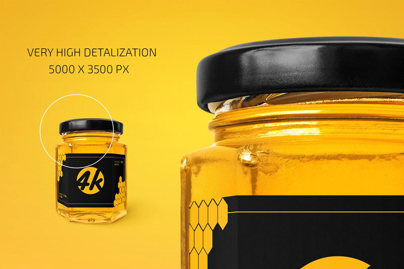 Honey Glass Jar Mockup 4447900