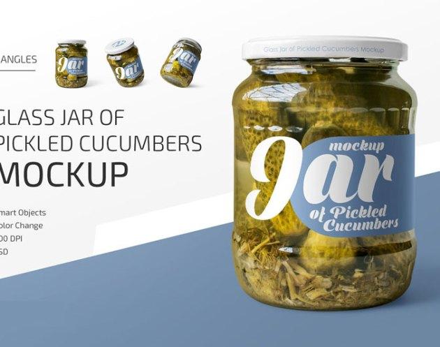 Jar of Pickled Cucumbers Mockup Set 4700815255D