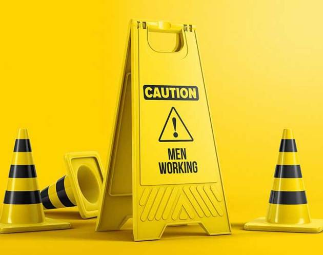 Plastic Caution Floor Sign Board Mockup Free Now