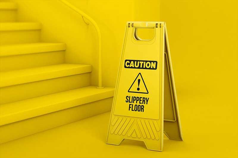 Plastic Caution Floor Sign Board Mockup