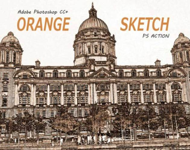 Orange Color Sketch Effect