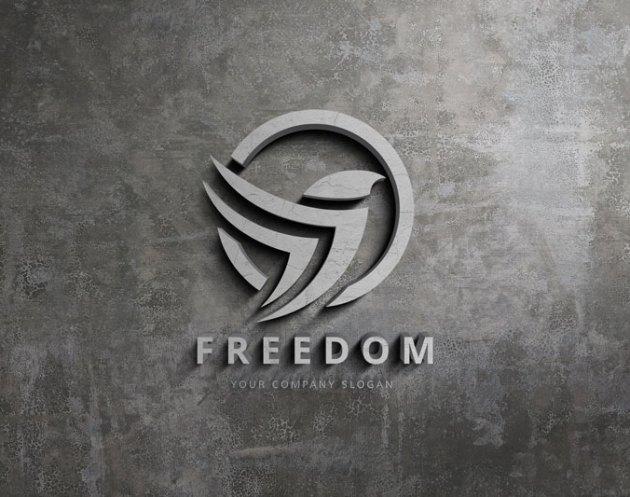 Realistic 3D Wall Sign Logo Mockup