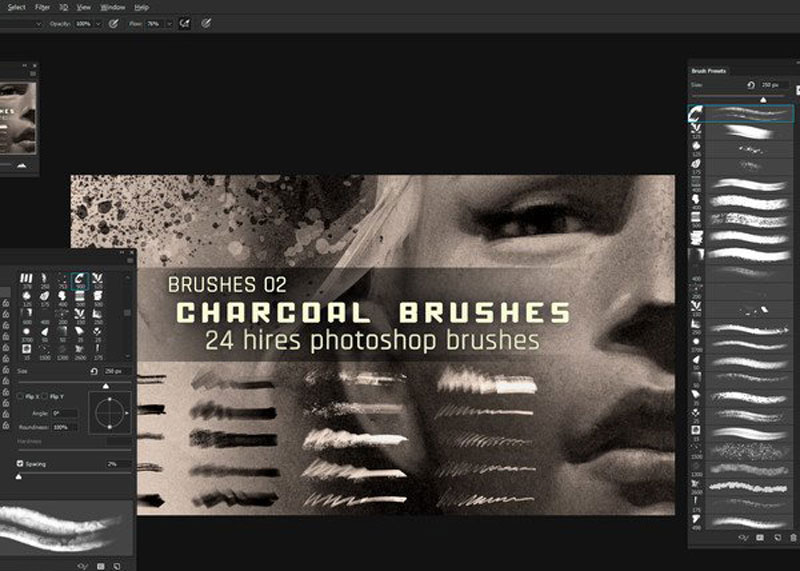Realistic Charcoal Photoshop Brushes