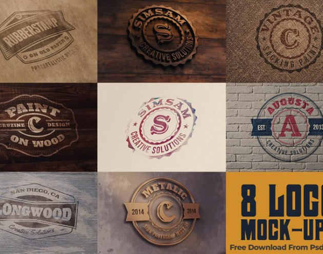 8 Realistic Logo or Text Mock ups 4981395