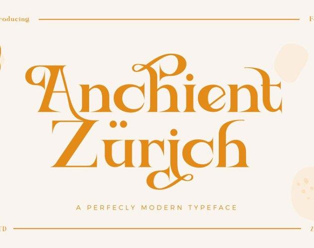 Ancient Zurich Serif Elegant Font Logotype Brand