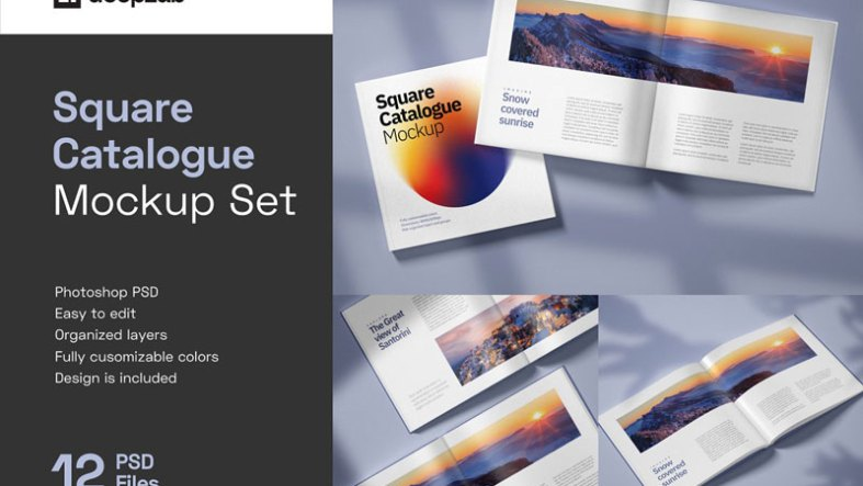 Square Catalogue Mockup Set 4944707