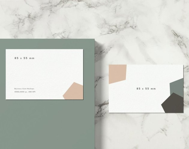 85x55 mm Business Card Mockup top view