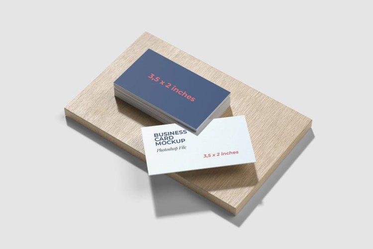 Business Card Mockup on the wood base