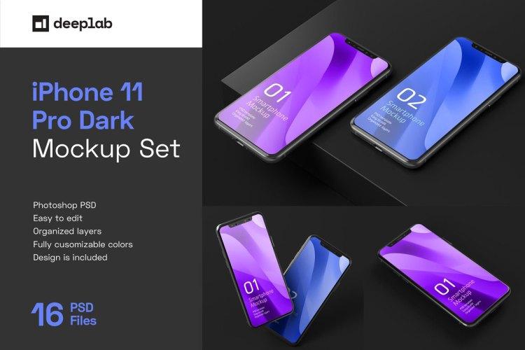Dark iPhone 11 Pro Dark Mockup 5212746
