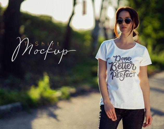 Female T-Shirt Mock-Up v4