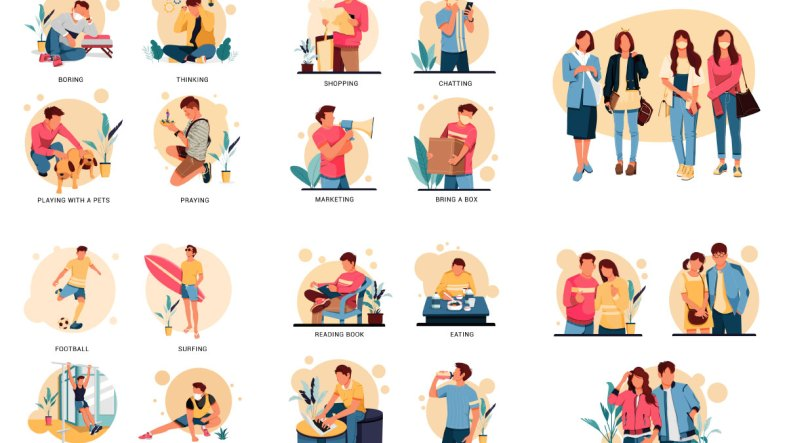 People and nature activities in different situations flat concept