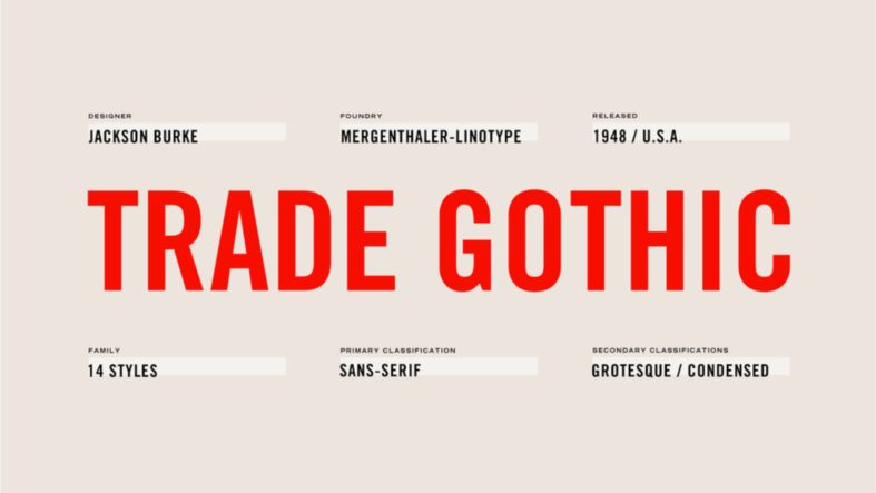 Trade Gothic Font Family - 14 Fonts