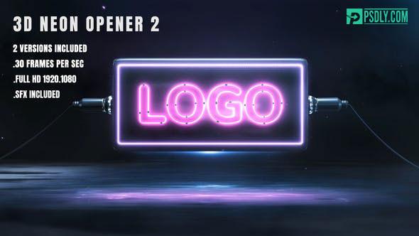 Videohive 3D Neon Opener 2 26056305