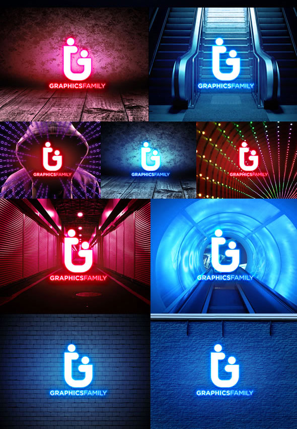 Free Neon Lights PSD Logo MockUp Download